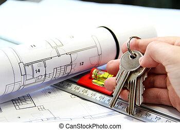 architektur, auf, büro, tisch, mit, werkzeuge, und, schlüssel