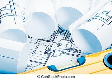 architektur, bauplaene, blauer ton