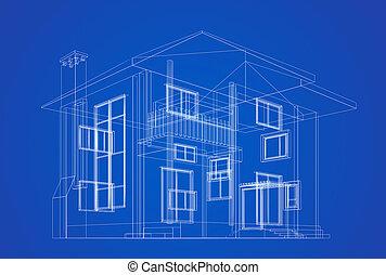 architektur, blaupause