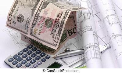 architektur, blaupause, taschenrechner, plan, projekt,...