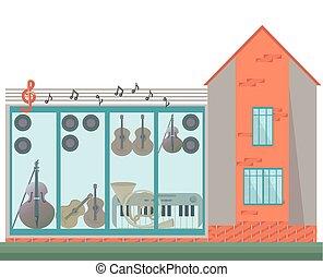 architektur, fassade, von, a, musik, house., vektor, abbildung, hintergrund