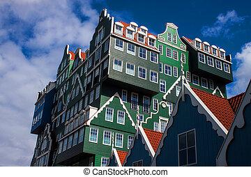 architektur, in, zaandam, niederlande