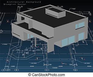 architektur, modell, haus, mit, blueprint., vektor
