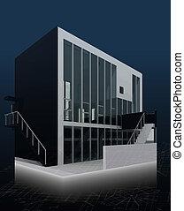 architektur, modell, haus, mit, blueprints., vektor