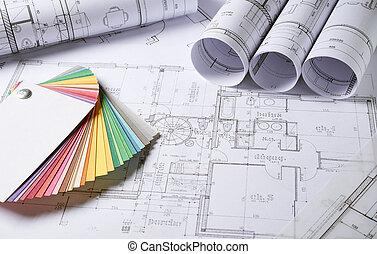 architektur, pläne