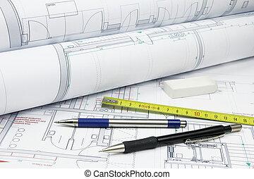 architektur, pläne, und, werkzeuge