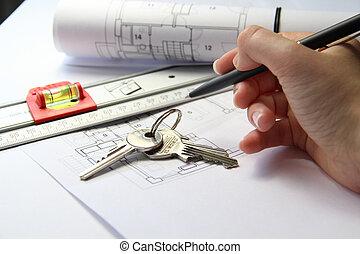 architektur, projekt, auf, büro, tisch, mit, werkzeuge, und, schlüssel