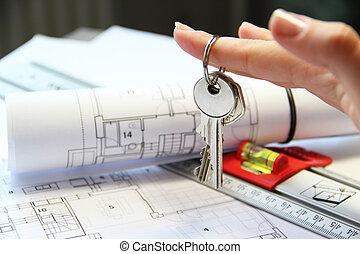 architektur, projekt, tisch, mit, werkzeuge, und, schlüssel