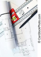 architektur, projekt, tisch, und, werkzeuge