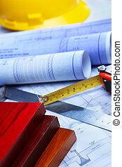 architektur, schreibarbeit, und, holzplanken