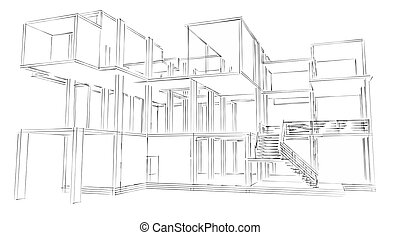 geb ude skizze buero 3d. Black Bedroom Furniture Sets. Home Design Ideas