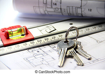 architektur, tisch, mit, werkzeuge, und, schlüssel