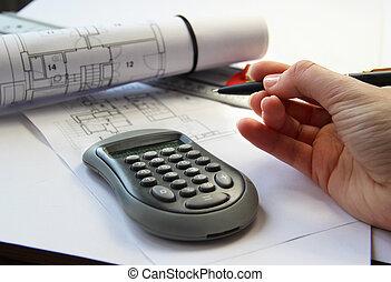 architektur, tisch, und, werkzeuge