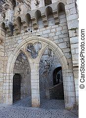 architektur, von, rocamadour, los, midi-pyrenees, frankreich