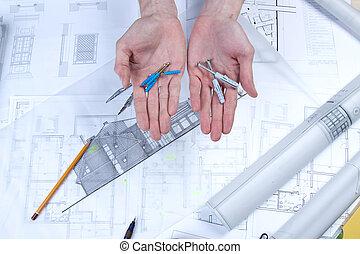 architektur, werkzeuge, auf, bauplaene