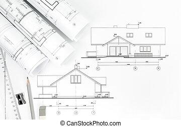 architektur, zeichnung, und, arbeit, werkzeuge