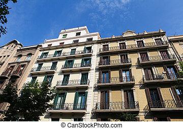 architektura, barcelona, typowy