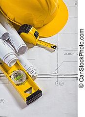 architektura, blueprints, a, pohánět nástroj, kolmice