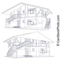 architektura, modrák, o, jeden, dva, house., vektor