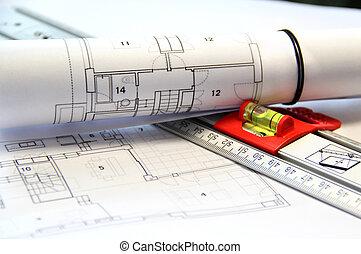 architektura, na stole, a, otesat dlátem