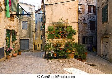 architektura, od, rovinj, croatia., istria, turystyczny,...