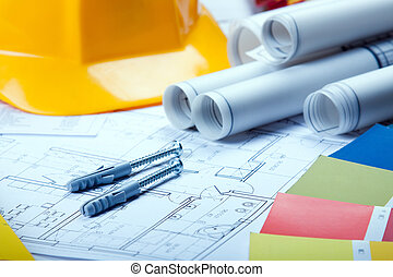 architektura, otesat dlátem, dále, blueprints