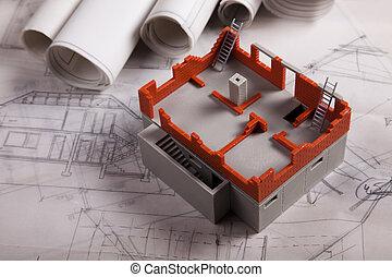 architektura, plán, budova