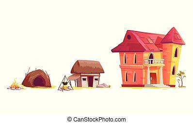 architektura, rozwój, rysunek, pojęcie, dom
