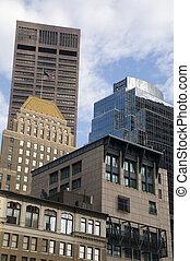architektura, w, śródmieście, boston