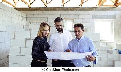 architetti, e, ingegnere civile, a, il, costruzione, luogo.