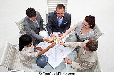 architetti, tostare, gruppo, champagne, ufficio