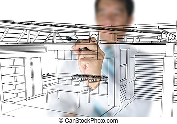 architetto, disegno, cucina casa