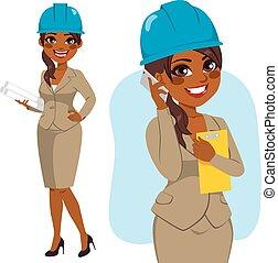 architetto, donna, nero