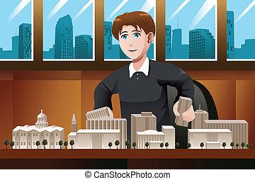 architetto, lavorando ufficio