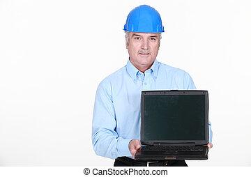 architetto, stato piedi, presa a terra, computer portatile