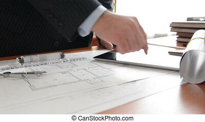 architetto, usando, pc tavoletta