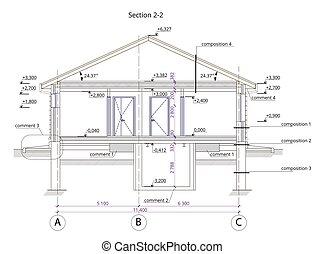 architettonico, sezione, di, uno, one-storey, residenziale, costruzione