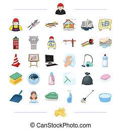 architettura, costruzione, e, altro, web, icona, in, cartone animato, style., pulizia, pulizia, immondizia, lavaggio, icone, in, set, collection.