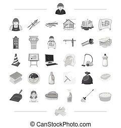 architettura, costruzione, e, altro, web, icona, in, monocromatico, style., pulizia, pulizia, immondizia, lavaggio, icone, in, set, collection.