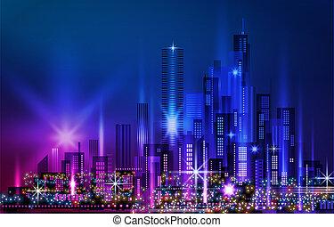 architettura, costruzioni, grattacieli, downtown., cityscape, illuminato, strada, illustrazione, notte, città, costruzioni, orizzonte, megapolis