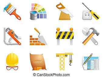 architettura, e, costruzione, icone