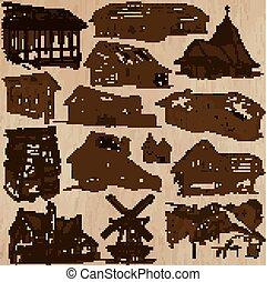 architettura, e, locali, intorno mondo, -, freehand, disegni