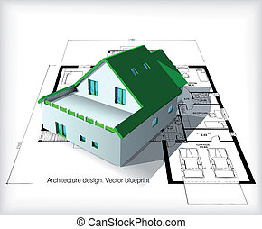 architettura, modello, casa, cima, cianografie
