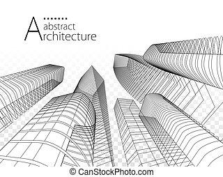 architettura moderna, illustrazione, urbano, 3d, costruzione, design.