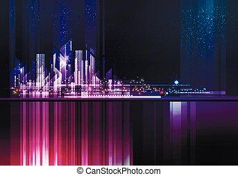 architettura, orizzonte, strada, megapolis, città, illustrazione, grattacieli, cityscape, costruzioni, downtown., notte, illuminato, costruzioni