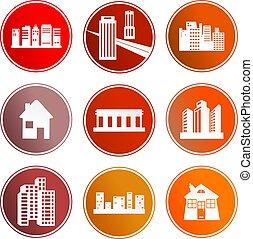 architettura, segno, icone