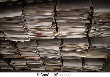 archiv, akten, datei, dahin, berge, regale, gefüllt
