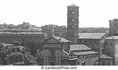 Archival 1960 and modern 2017 Roman Forum panorama in Rome capital of Italy. Basilica Santa Francesca Romana, Arch of Titus, Colosseum and Trajan Forum and coliseum.