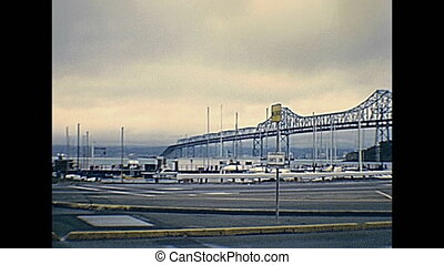 archival Bay Bridge - archival footage of old Bay Bridge to...