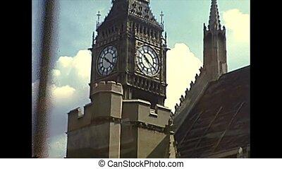 Archival Big Ben clock tower of London